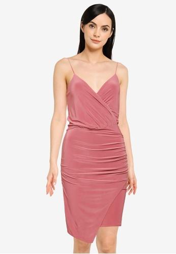MISSGUIDED pink Slinky Wrap-Over Mini Dress 36CE0AA74828C9GS_1
