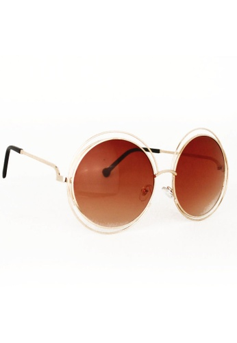 Amora Scarlett gold and brown Oversized Circular Brown Lens in Gold Frame Eyewear 8DD7AGL89F190EGS_1