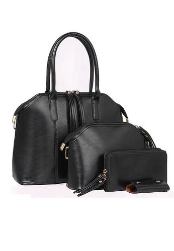 LULUGIFT black Lulugift European 4in1 Luxury PU Leather HandBag Black Color LU989AC21QMGMY_1