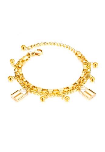 CELOVIS gold CELOVIS - Commitment Padlock Pendant Multi-Chain Bracelet in Gold CB0CCACEF7879CGS_1