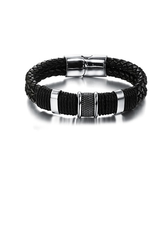 Glamorousky silver Fashion Simple Geometric 316L Stainless Steel Braided Black Leather Bracelet 5E470AC75DCDE2GS_1
