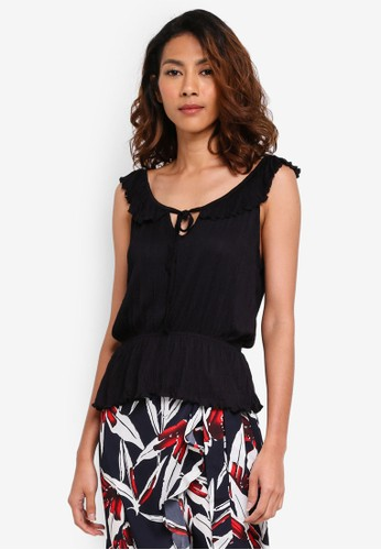 Cotton On black Lucy Ruffle Strap Top B2037AAD326740GS_1