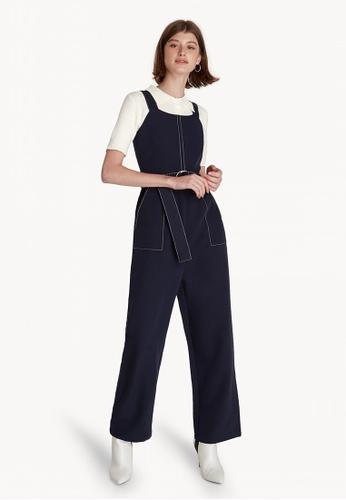 a5f0fcf33a70 Pomelo navy Belted Contrast Stitch Jumpsuit - Navy 9B613AA1CE3B50GS 1