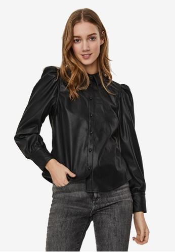 Vero Moda black Gwen Long Sleeve Pl Coated Puff Shirt E029CAAA6D96D5GS_1
