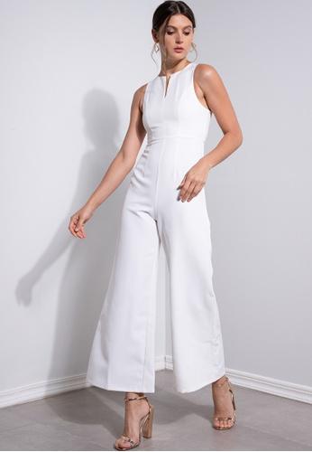 ZALORA OCCASION white Bridesmaid Front Slit Jumpsuit 7D2E7AAA064539GS_1