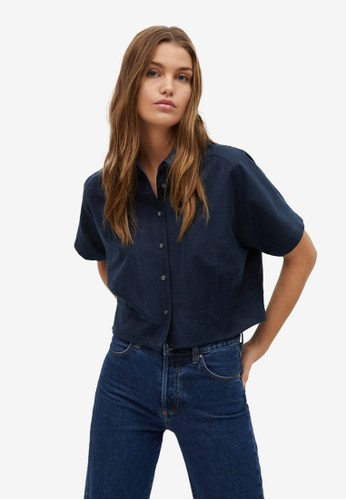 Mango blue Pleated Crop Shirt CD57AAA91994DBGS_1
