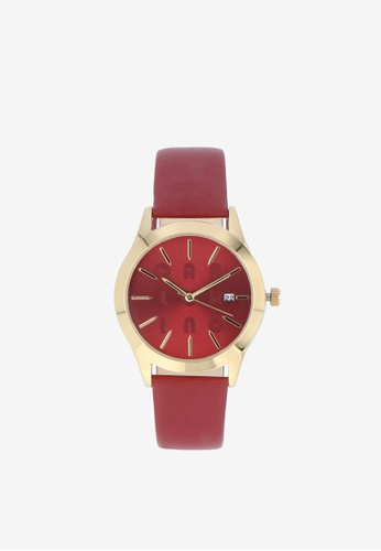 Carlo Rino red Maroon On The Dot Leather Strap Timepiece B0C0CAC2D03B42GS_1