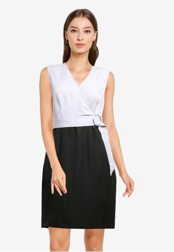 ZALORA WORK multi Buckle Wrap Bodice Dress 4F5FCAA3CB8D0BGS_1