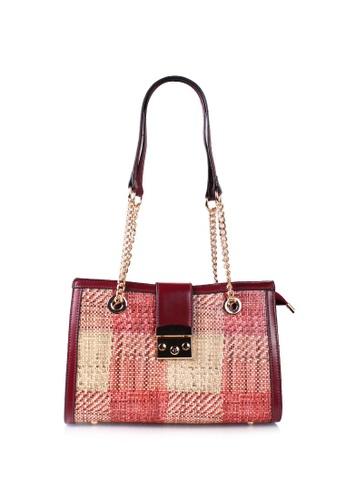 VOIR red VOIR Woven Print Shoulder Bag - Maroon 3AB46ACA5D5375GS_1