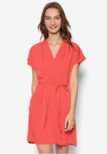 V 領腰帶短袖洋裝, 服飾, esprit 高雄洋裝