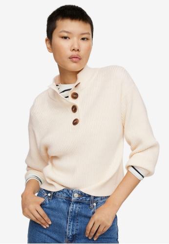 Mango beige Ribbed Knit Sweater 23C54AA0F96F2DGS_1
