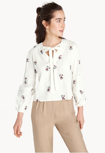 Pomelo white Embroidered Balloon Sleeve Blouse 89145AAEC59B66GS_1