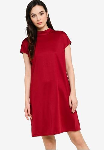 ZALORA WORK red Mock Neck Zipper Back Shift Dress 9D896AAA19C026GS_1
