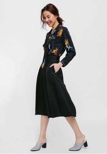 cb2a916308 Love, Bonito black Slylla Textured Pleat Midi Skirt 2E8F8AA1C308ACGS_1