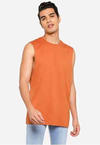 Electro Denim Lab orange Basic Sleeveless Tee FFFC5AA0706D67GS_1