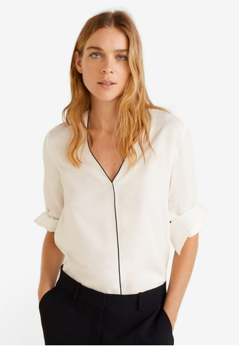 Mango white Contrast Trim Shirt FD726AA3AEEDDAGS_1