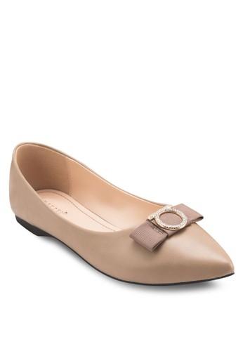 蝴蝶結尖頭平底鞋,esprit outlet台北 女鞋, 芭蕾平底鞋