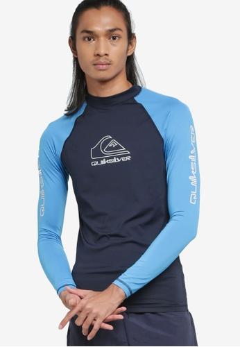 Quiksilver navy On Tour Long Sleeves UPF 50 Rash Vest 9BB7BAA3261E74GS_1