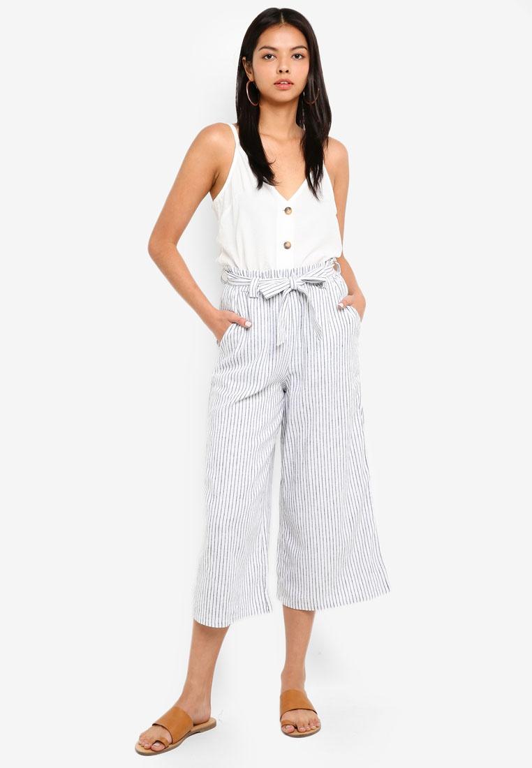 White High And Black Cotton Even On Liv Waist Stripe Culottes SUnzfv4nq