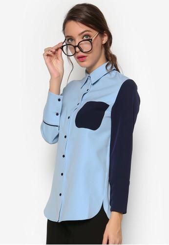 拼色口袋長袖襯衫, 服飾, 上esprit地址衣