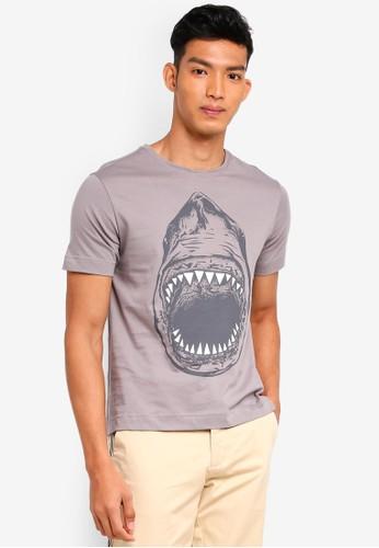 UniqTee grey Shark Graphic Tee 597B8AA8119F63GS_1