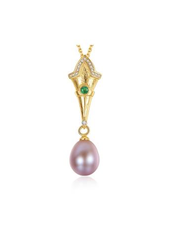 SUNRAIS gold Premium colored stone gold simple design necklace 13D96AC145E384GS_1