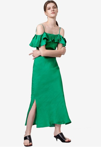 Saturday Club 綠色 Convertible Off-Shoulder 荷葉飾洋裝 AFACAAA0CC27A1GS_1