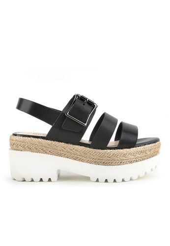 Joy & Peace black Strappy Sandals JO458SH73YHAHK_1