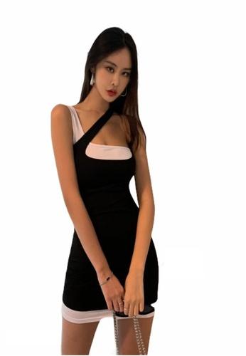 Crystal Korea Fashion black South Korea's new slim hit color slim party dress 4AA09AA34A216AGS_1