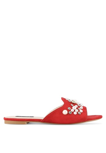 ZALORA red Pearl Embellished Sliders D424FSHE402306GS_1