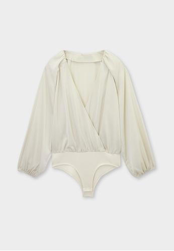Pomelo beige Loose Puff Sleeve Bodysuit - Cream 1F4EFAA99B0291GS_1
