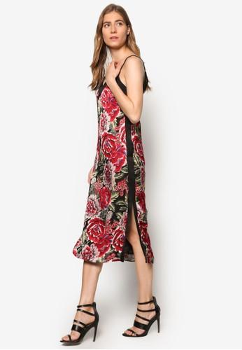 Darcy 印花拼接細肩帶連身裙, 服飾,esprit香港門市 洋裝