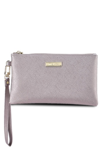 Mel&Co grey Faux Leather Clutch Wristlet 74466ACF5D5EB2GS_1