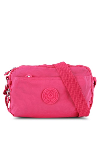 Bagstationz pink MDS Crinkled Nylon Fabric Multi-Compartment Sling Bag BA607AC0S67ZMY_1