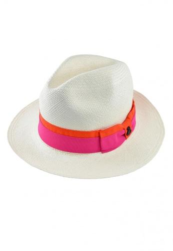 DOSSCAPS white and pink and orange ECUA ANDINO Classic White Panama Hat (Ribbon Band) 2573BACB9FE6F0GS_1