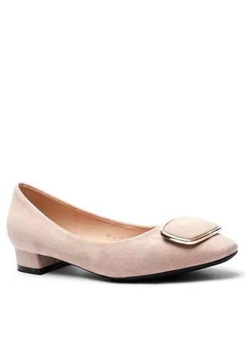Twenty Eight Shoes 尖頭橢圓扣絨面高踭鞋1205-39 10779SH3034E88GS_1