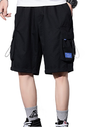 Sunnydaysweety black Casual Loose Thin Solid Color Cargo Shorts A21070503BK 8D94BAAFA558FEGS_1