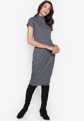 Seventh Cherie grey Short Sleeve Stripes Bodycon Dress B9A67AAEE03C48GS_1