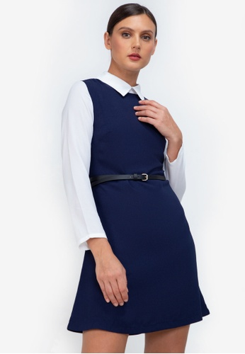 ZALORA WORK navy Contrast Fit & Flare Dress 73AD1AA1F9D581GS_1