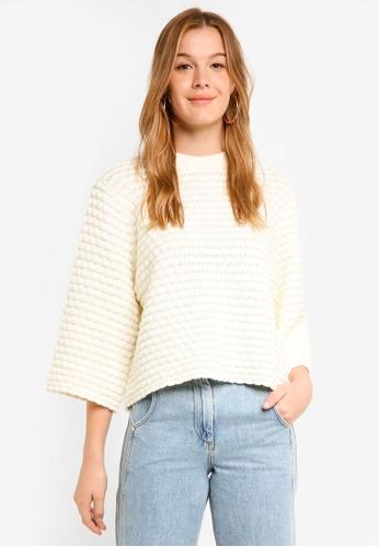 Y.A.S white Dot Knit Pullover 3ED5EAAFA0633DGS_1