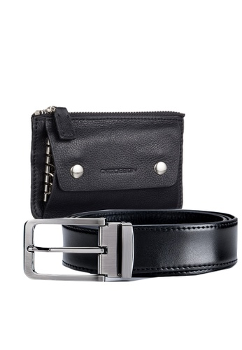 ENZODESIGN black Executive Smooth Leather Belt + Key Pouch Gift Set 94224AC5D6E4DBGS_1