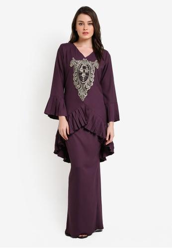 Zuco Fashion purple Pleated Lace Mini Kurung ZU882AA0RIKEMY_1