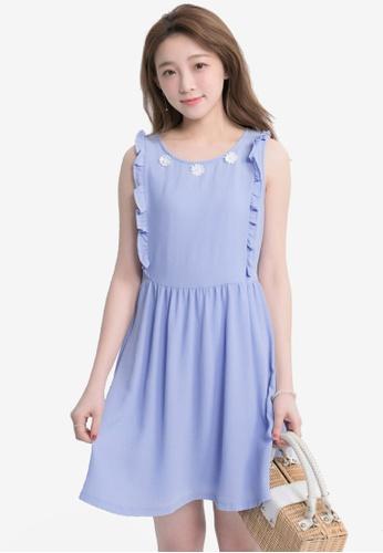 YOCO blue Frill and Crochet Detail Mini Dress YO696AA0SZUUMY_1