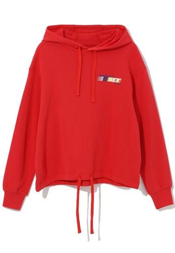 tout à coup red Drawstring hem hoodie 6136EAA3115EA9GS_1