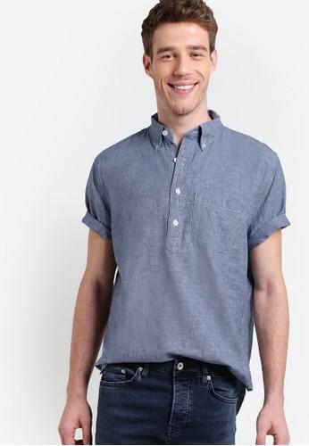 青年esprit分店布短袖襯衫, 服飾, 襯衫