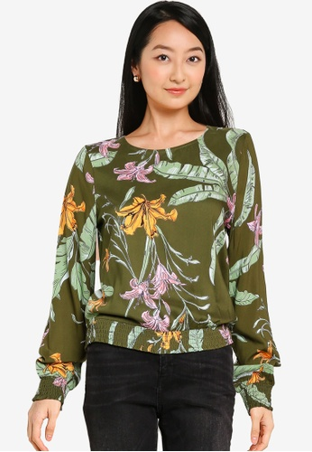 ONLY green Palm Life Smock Top 463B8AA59A3658GS_1