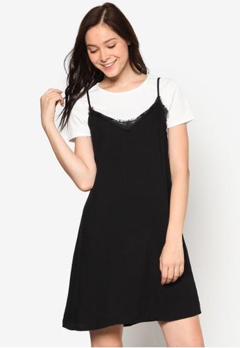 假兩件蕾絲邊飾連身esprit outlet hong kong裙, 服飾, 洋裝
