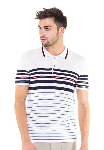 Knitwork Off White Custom Striped Polo Shirt