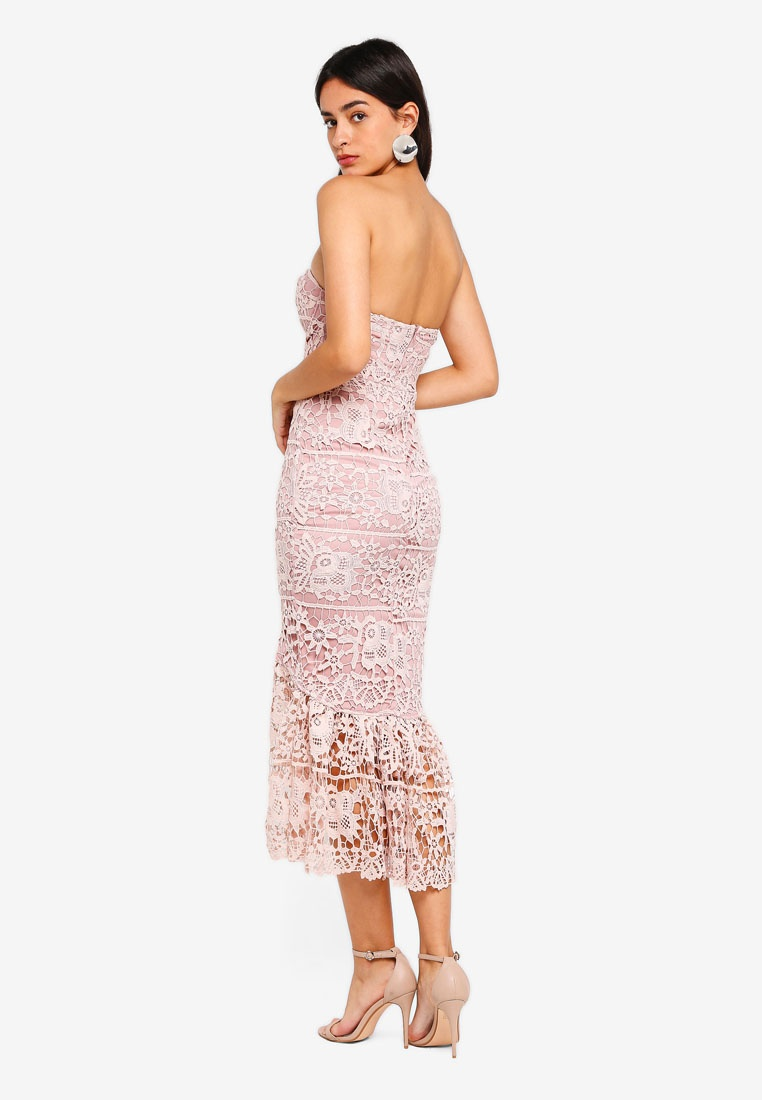 Fishtail Dress Lace MISSGUIDED Rose Pink Midi TFxwqCxd1