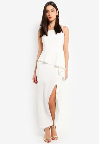 Preen & Proper white Peplum Waterfall Ruffle Maxi Dress BB9BFAA184598CGS_1